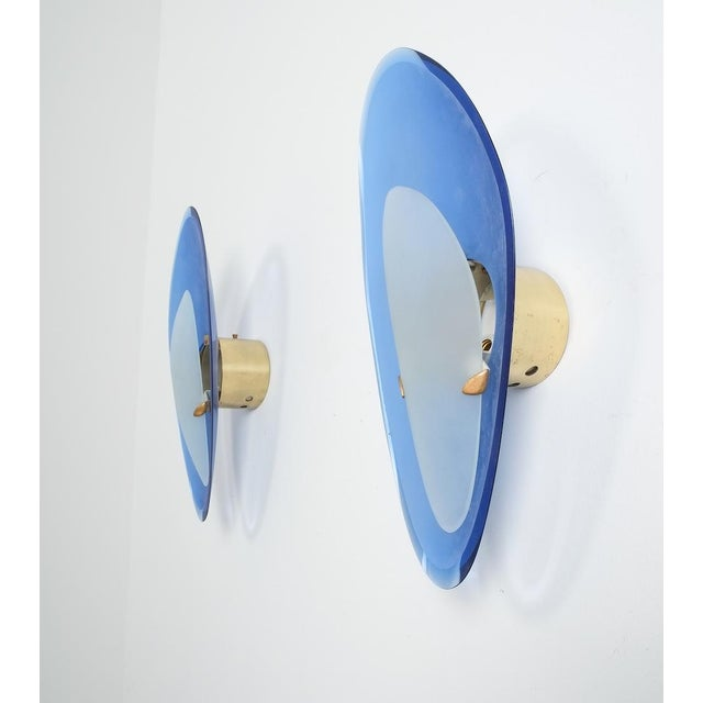 Pair of Max Ingrand Fontana Arte Blue Glass Sconces Wall Lamps, Italy, 1960 For Sale - Image 13 of 13