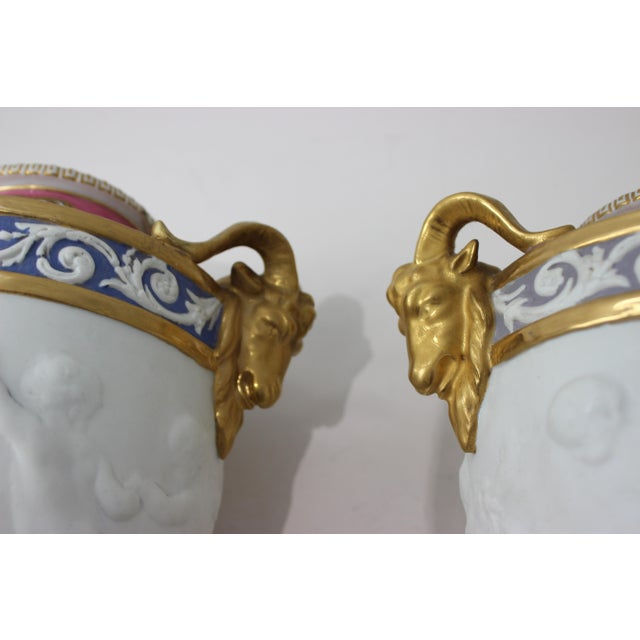 Antique 19th Century Sevres Style Urns - a Pair For Sale - Image 11 of 13