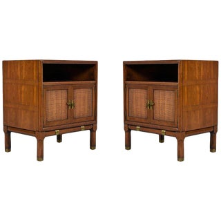 Cherry & Olive Wood Inlay Thomasville Campaign Talisman Nightstand End Tables For Sale