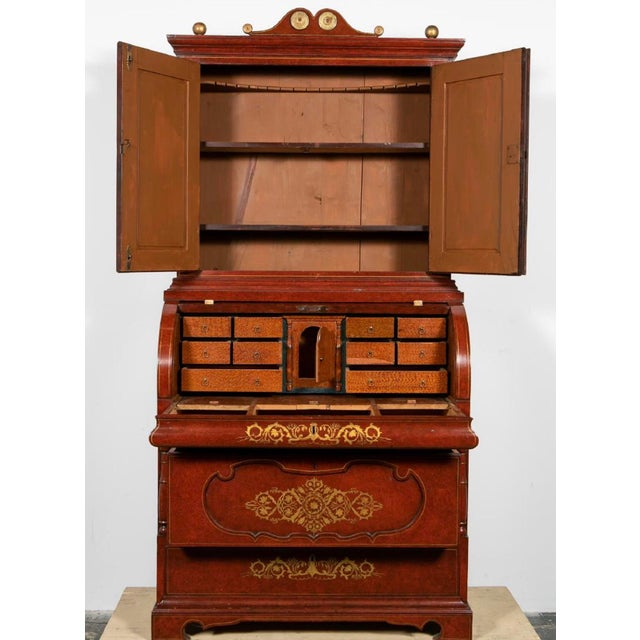 Mid 19th Century 19th Century Biedermeier Continental Faux Bois Painted Pine Cylinder Secretary Bookcase For Sale - Image 5 of 12