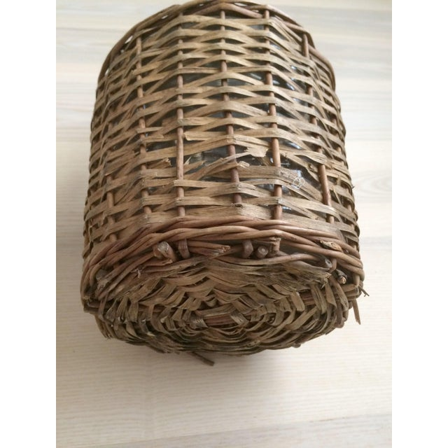 Vintage French Country Wicker Wrapped Demijohns With Handles - a Pair For Sale - Image 9 of 9