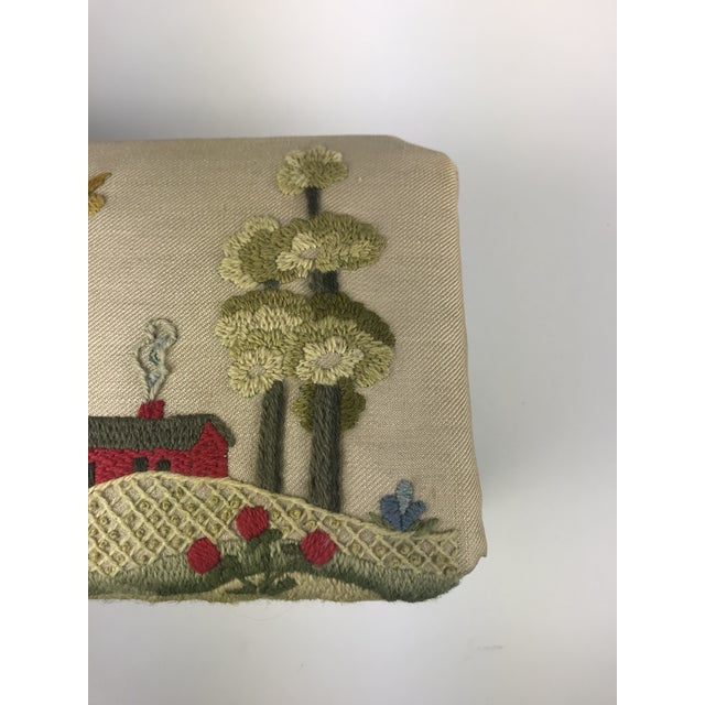 1970s Vintage Handmade Embroidered Foot Stool For Sale In Los Angeles - Image 6 of 13