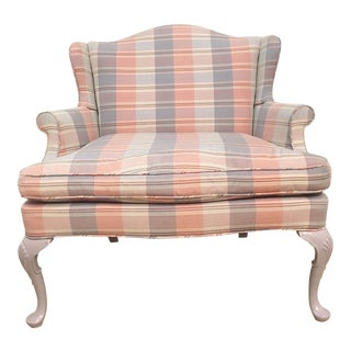 Vintage Plaid Wingback Settee For Sale