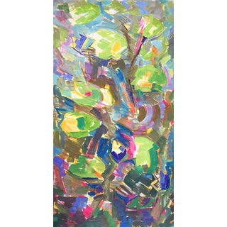 "Large Abstract Oil Painting by Trixie Pitts ""Water Lilies"" For Sale"