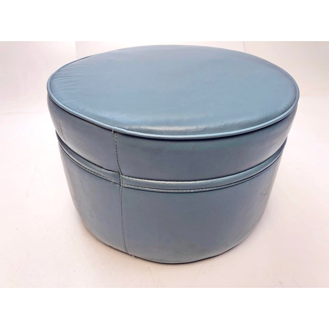 Vintage Mid Century Modern HASSOCK STOOL. Beautiful, original blue vinyl hassock stool/ottoman. Soft vinyl. Measures...