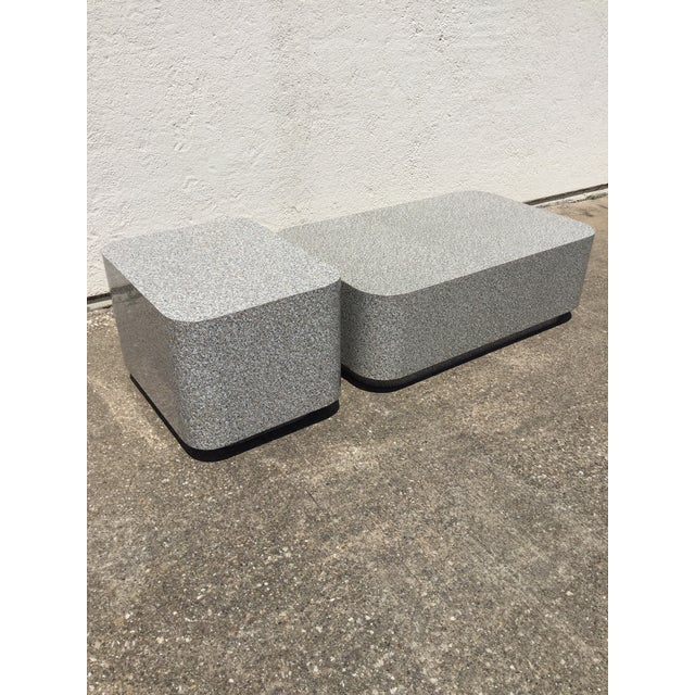 1980s 1980s AbstractGranite Laminate Modular Pedestal Table Set - 2 Pieces For Sale - Image 5 of 11