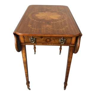 Floral Mixed Wood Inlay Drop-Leaf Pembroke Side Table For Sale