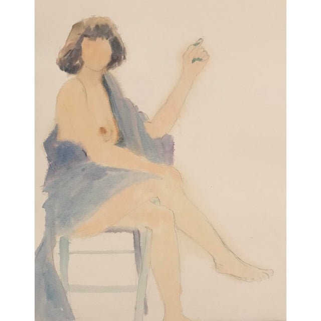 1980s Seated Female Nude Watercolor Painting For Sale - Image 4 of 4