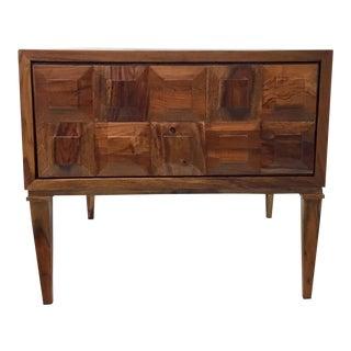 Modern Brutalist Inspired Global Views Baguette Teak and Mango Wood Side Table For Sale