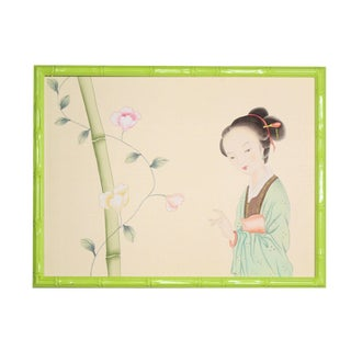 1970s Vintage Chinese Courtesan Painting on Silk For Sale