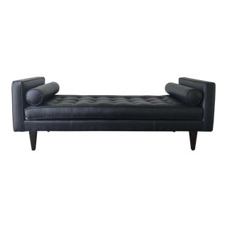 Mid-Century Modern Black Leather Bench/Daybed For Sale
