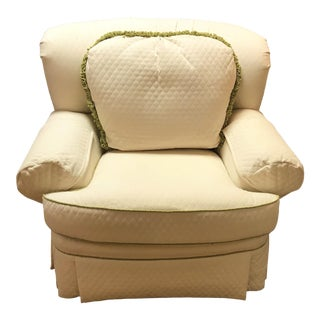 Quilted White Lounge Chair With Contrasting Piping and Toss Pillows For Sale