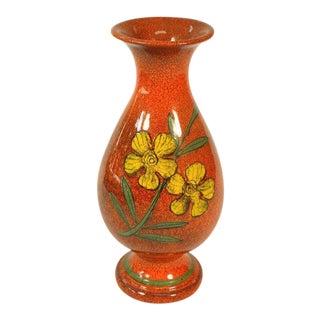 Vintage Mid Century Ceramic Orange Hand Painted Vase For Sale
