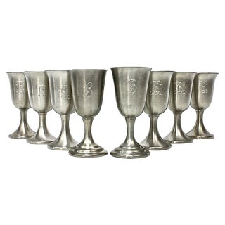 "Small ""B"" Monogram Pewter Liquor Chalices - Set of 8"