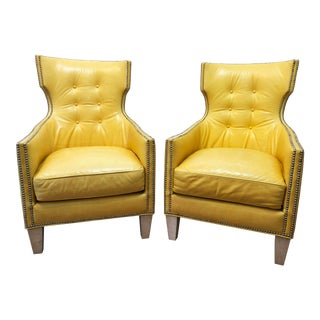 Yellow Leather Wingback Chairs - A Pair For Sale