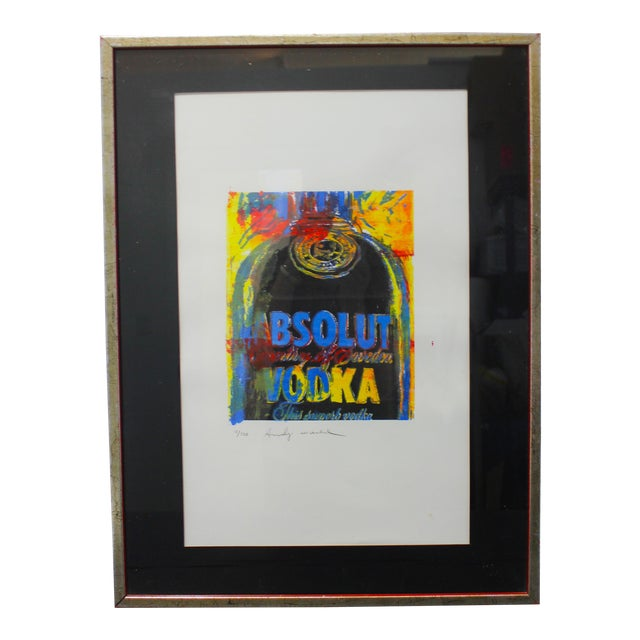 Vintage Andy Warhol Lithograph Absolut Vodka For Sale