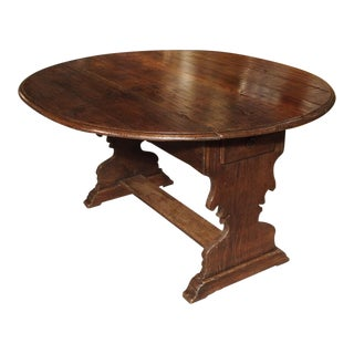 Antique Chestnut Wood Drop Leaf Table From Italy, Circa 1790 For Sale
