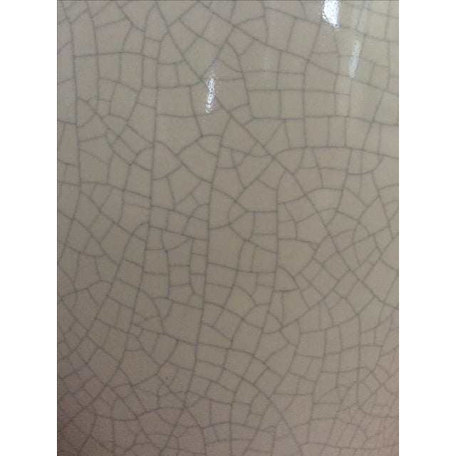 White Ceramic Crackle Glazed Lamps - a Pair - Image 10 of 11