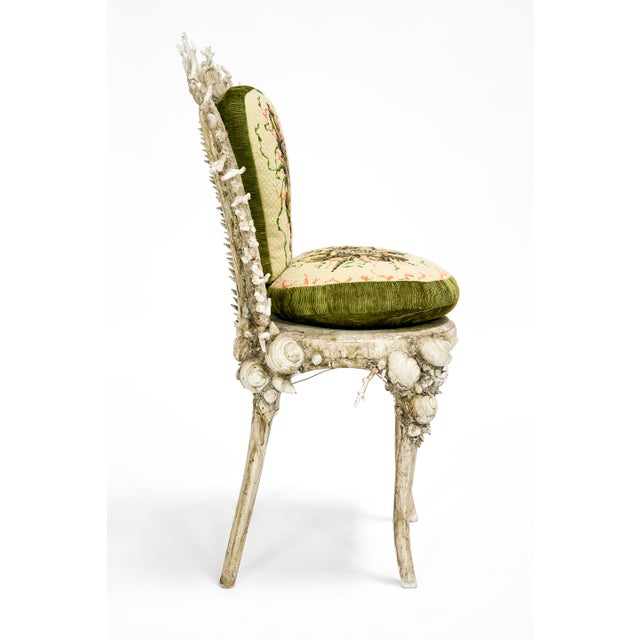 White Fantasy Shell and Coral Chair With Embroidered Pillow For Sale - Image 4 of 13