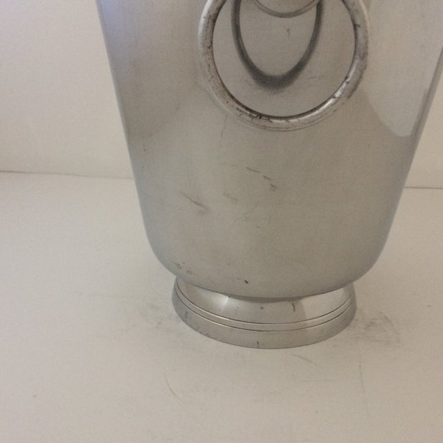 Aluminum Vintage Polished Aluminum Drop Bail Knob Handled Ice Bucket For Sale - Image 7 of 9
