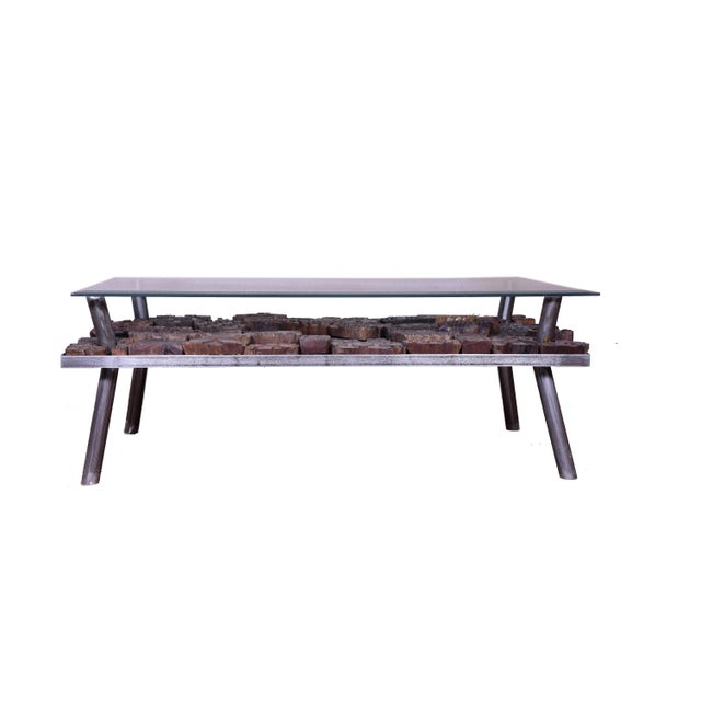 Contemporary Coffee Table With Glass Top For Sale - Image 4 of 5