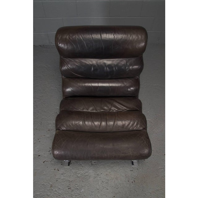 1960s Leather and Steel Lounge Chair in the Style of Arne Norell For Sale - Image 5 of 10