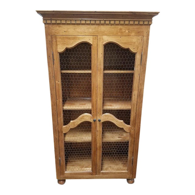 French Country Chicken Wire Cupboard Hutch China Cabinet For Sale