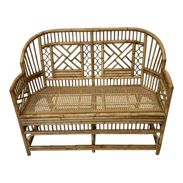 Chinese Chippendale Brighton Style Bamboo Bench For Sale