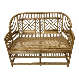 Vintage Brighton Pavillion Style Bamboo Settee Loveseat Chinese Chippendale For Sale