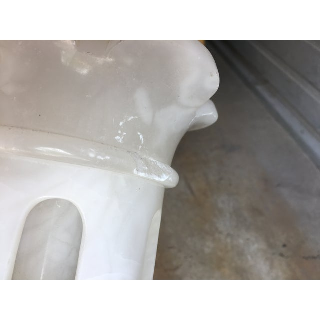 White Carved Marbro Alabaster Table Lamp For Sale - Image 8 of 10