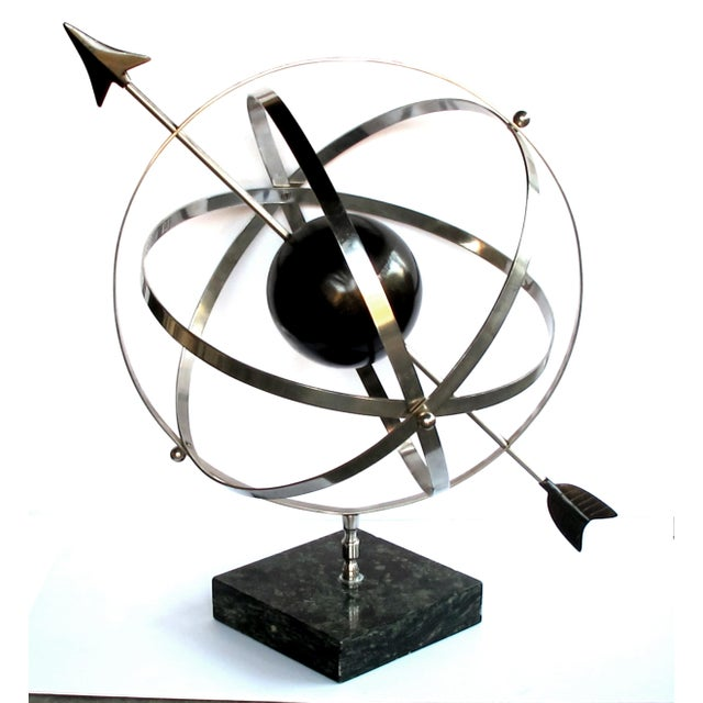 Marble A Large-Scaled and Well-Rendered American 1980's Steel Astrological Zodiac Armillary For Sale - Image 7 of 7