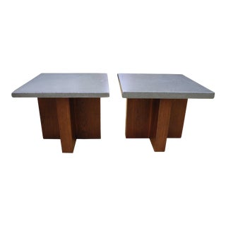 A Pair of Modern Concrete and Cherry Side Tables For Sale