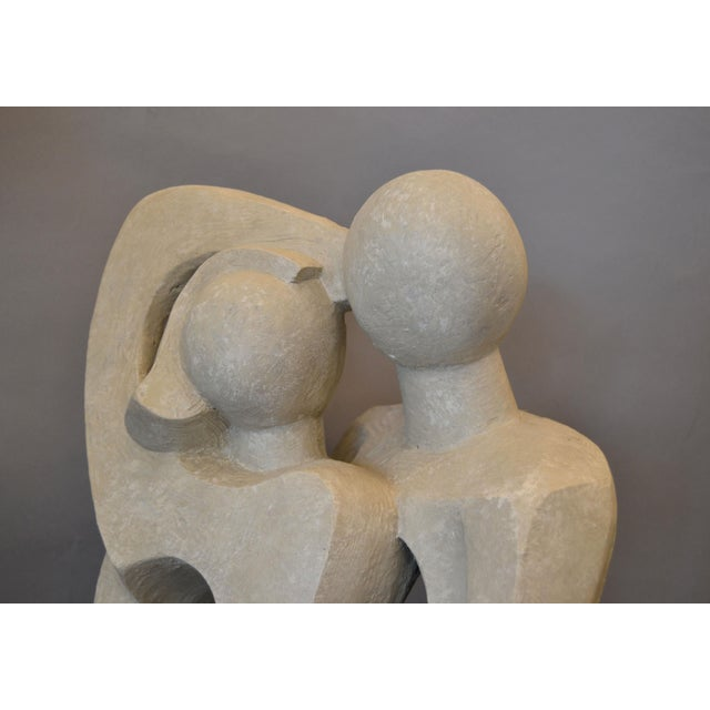 Modern Abstract Geometric Embracing Loving Couple Sculpture in Gray Plaster For Sale - Image 9 of 13