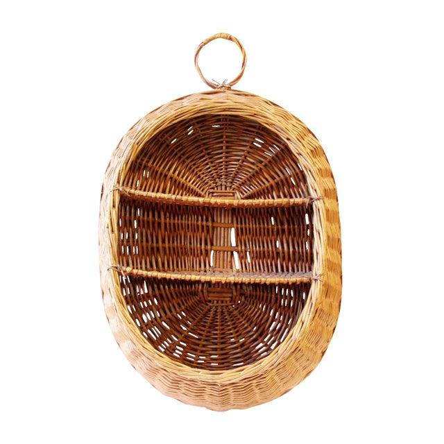 Vintage Boho Wicker Basket Shelf - Image 1 of 4