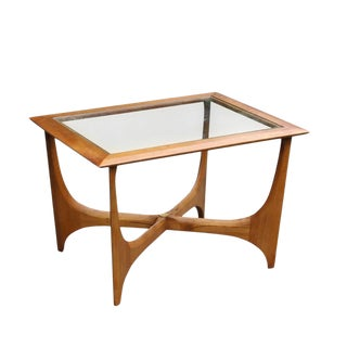 Mid-Century Modern Lane Wood & Glass End Table For Sale