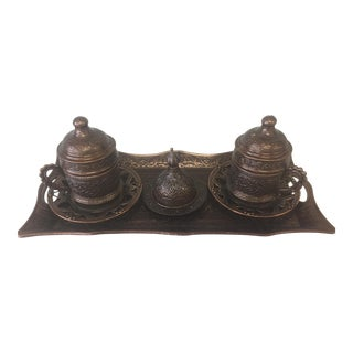 Authentic Turkish Coffee Set in Antique Brass - Set of 9