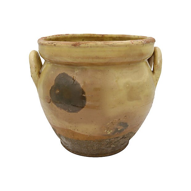 Large antique French stoneware confit pot. No maker's mark.