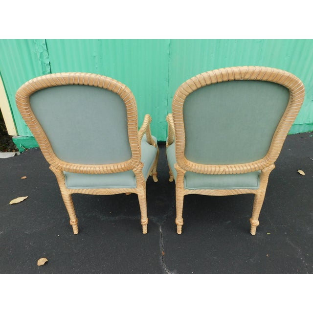 Hollywood Regency Carved Knotted & Twisted Rope Bergere Chairs - a Pair For Sale - Image 4 of 11
