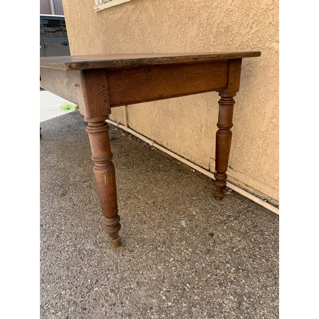 Authentic antique french farm table would be wonderful as a dining table or a desk. Made in the late 19th century,