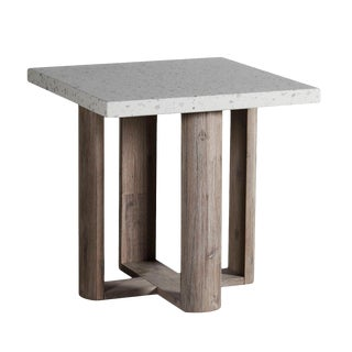 Terrazzo & Acacia Side Table For Sale