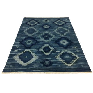 Rug & Relic Yeni Kilim | Navy Blue Evil Eye Kilim For Sale