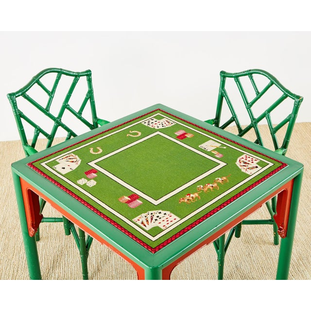 Mid 20th Century Baker Trompe l'Oeil Card Table With Rattan Armchairs For Sale - Image 5 of 13