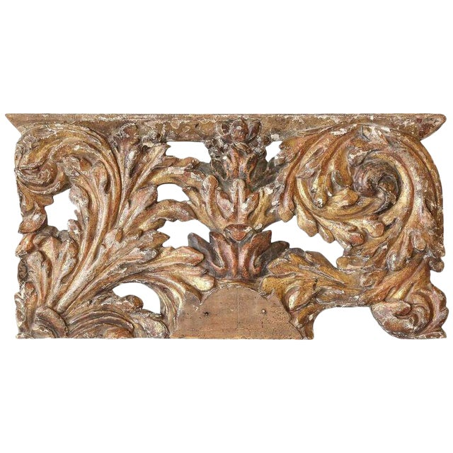 Decorative 18th Century Carved and Gilded Architectural Fragment For Sale