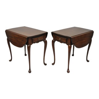 Hitchcock Cherry Wood Queen Anne Pembroke Drop Leaf Lamp End Tables - a Pair For Sale