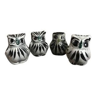 Vintage Mexican Tonala Pottery Owls - Set of 4