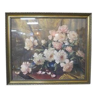 1940s Vintage Antique Floral Print With Gold Frame For Sale