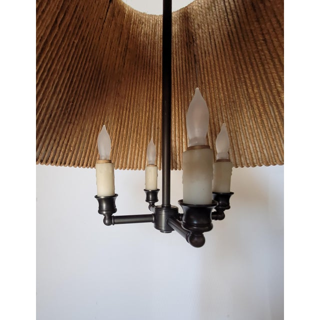 Rustic String Shaded Chandelier For Sale - Image 3 of 8