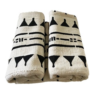 Malian White & Black Mud Cloth Textile For Sale
