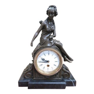 Art Nouveau Bronze Huntress Clock For Sale