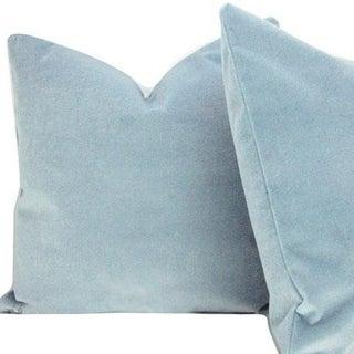 Transitional Sky Blue Velvet Pillow Cover Preview